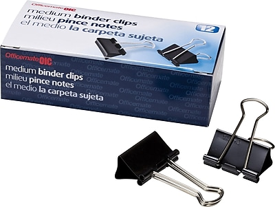 OIC Medium Binder Clips, Black and Silver, 1 1/4