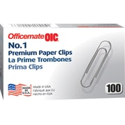 OIC Premium Paper Clips, #1, Smooth, 1000/Pk