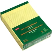 "Staples 100% Recycled Narrow Rules Perforated Notepads, 8 1/2"" X 11"", 12/Pack"
