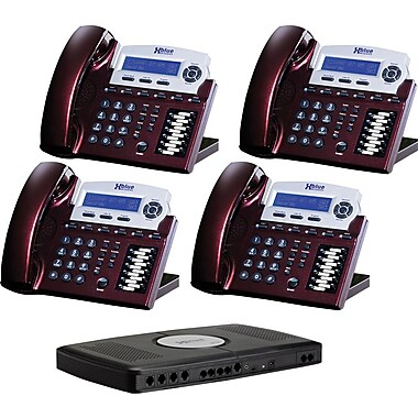 XBLUE X16 4-Line Small Office Telephone System, 4pk - Red Mahogany