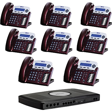 XBLUE X16 6-Line Small Office Telephone System, 8pk - Red Mahogany