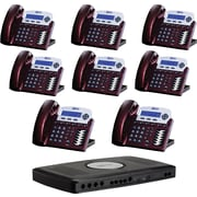 XBLUE X16 6-Line Small Office Telephone System, Red Mahogany, 8/Pack