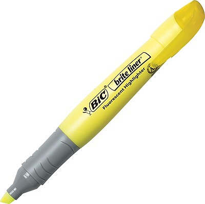 BIC® Brite Liner® Grip Highlighters, Chisel, Yellow, Dozen