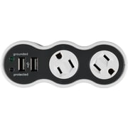 Staples 2-Outlet 306 Joule Surge Protector with USB Charging Ports and Rotating Outlets