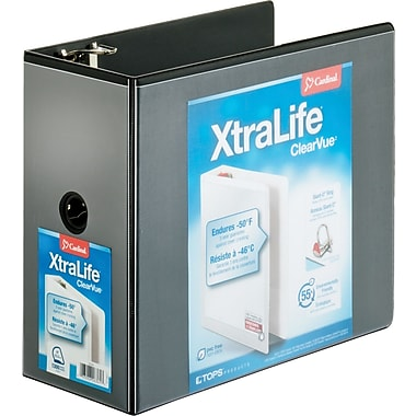 """Cardinal® XtraLife ClearVue Locking D-Ring Binder, Black, 6"""""""