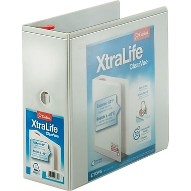 Cardinal® XtraLife ClearVue Locking D-Ring Binder, White, 5""