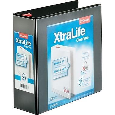 """Cardinal XtraLife ClearVue Locking D-Ring Binder, Black, 4"""""""