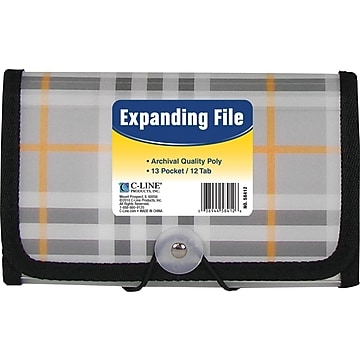 "C-Line® Expanding File with 1-1/2"" Expansion, Clear, Plaid"