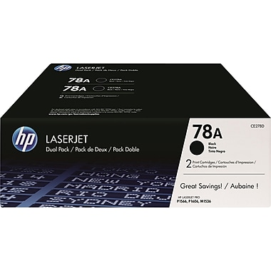 HP 78A (CE278D) Black Original LaserJet Toner Cartridges, 2/Pack