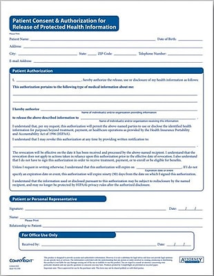 Complyright Hipaa Patient Consent And Authorization Form  Staples