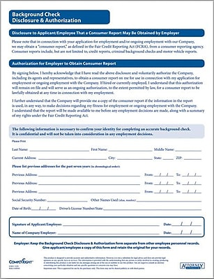 Complyright Background Check Authorization Form  Staples