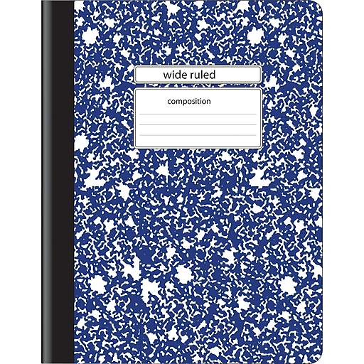 """Staples Composition Notebook, Wide Ruled, Blue, 9-3/4"""" x 7-1/2"""", 24 pack"""