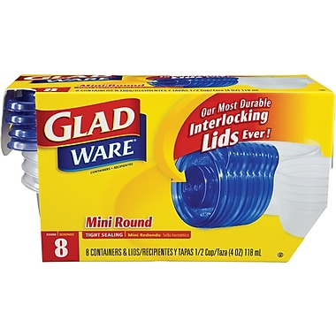 GladWare® Mini Round Containers, 4 oz., 8/Pack