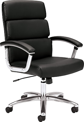 HON Traction High-Back Executive Chair, Center-Tilt, Fixed Arms, Polished Aluminum, Black SofThread Leather NEXT2018 NEXT2Day