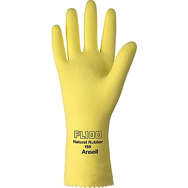 Ansell® Latex Gloves, Natural Latex, Pinked Cuff, X-Large, Yellow, 12 Pairs