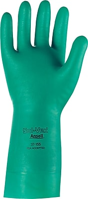 Ansell® Sol-Vex® Unsupported Nitrile Gloves, 15 mil., Straight Cuff, Large, Green, 12 Pairs