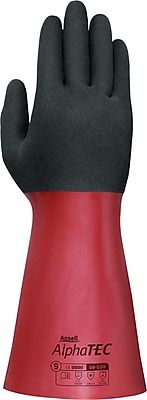 Ansell® AlphaTec™ Coated Gloves, Nitrile, Gauntlet Cuff, X-Large, Black/Red