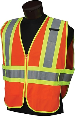 Allsafe SMC Deluxe Style Safety Vests, Polyester Mesh, M/XL Size, Zipper, Lime Mesh