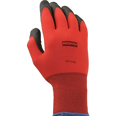 North® Flex Red™ Coated Gloves, PVC, Knit-Wrist Cuff, Large, Red/Black