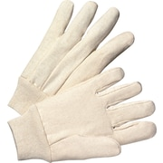 Anchor Brand Canvas Gloves, Cotton, Knit-Wrist Cuff, Men's Size, Unlined, White, 12 Pair/Box