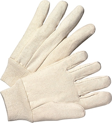 Anchor Brand Canvas Gloves, Cotton, Knit-Wrist Cuff, Men's Size, Unlined, White