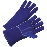 Anchor Brand Standard Welding Gloves, Leather, Gauntlet Cuff, L Size, Blue, 12 Pair/Box