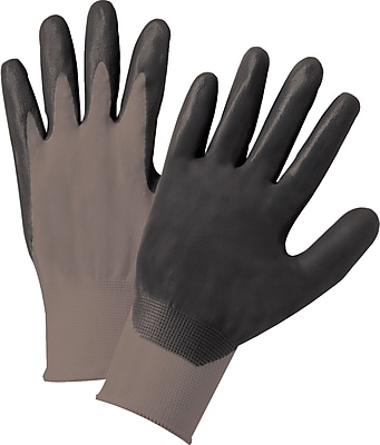 Anchor Brand Coated Gloves, Nitrile, Knit-Wrist Cuff, Large, Grey/Black