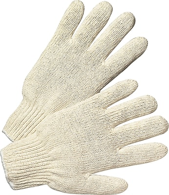 Anchor Brand Regular String Knit Gloves, Cotton/Polyester, Knit-Wrist Cuff, Large, White, 12 Pairs