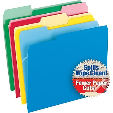 Pendaflex CutLess WaterShed Colorful Top Tab File Folders, 3 Tab, Letter, Assorted, 100/Box (48434)