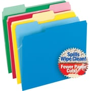 Pendaflex CutLess WaterShed Colorful Top Tab File Folders, 3Tab, Letter, Assorted, 100/Bx (48434)