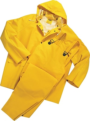 Anchor Brand Rainsuits, PVC/Polyester, L Size, Front Closure, Yellow