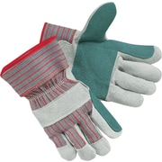 Memphis Gloves® Shoulder Split Gloves, Double Leather Palm, Safety Cuff, Large, Red/Grey