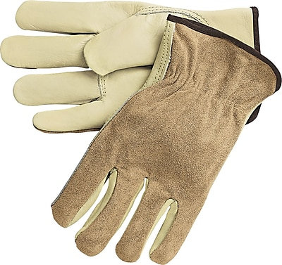 Memphis Gloves® Driver's Gloves, Split Cow Leather, Slip-On Cuff, Large, Cream, 12 Pairs