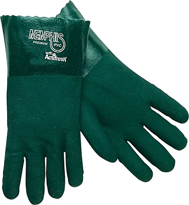 Memphis Gloves® Double Dipped Gloves, PVC, Gauntlet Cuff, Large, Green, 14