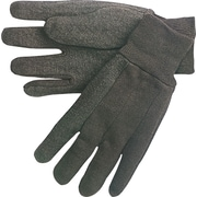 Memphis Gloves® Jersey Gloves with Plastic Dots, Cotton, Knit-Wrist Cuff, Large, Brown, 12 Pairs