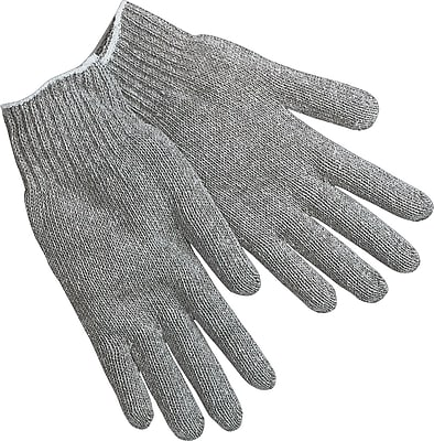 Memphis Gloves® String Knit Gloves, Cotton/Polyester, Hemmed Cuff, Large, Grey, 12 Pairs