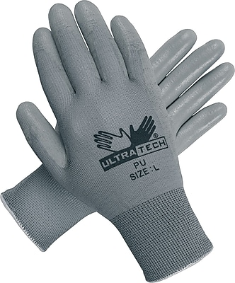 Memphis Gloves® UltraTech® Coated Gloves, Polyurethane, Hemmed Cuff, Large, Grey