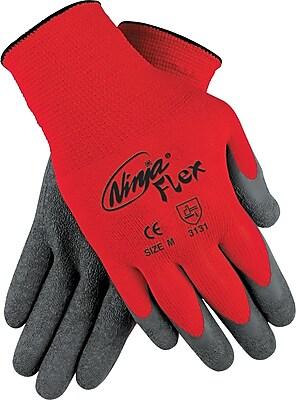 Memphis Gloves® Ninja® Coated Gloves, 100% Nylon, Knit-Wrist Cuff, Medium, Grey/Red