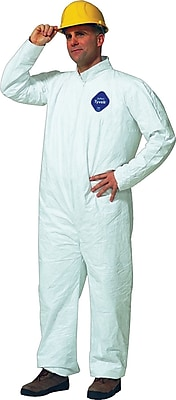 DuPont® Tyvek® Coveralls, 5XL Size, Front Zipper, White, Serged Seams, 25/Carton