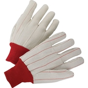 Anchor Brand Canvas Gloves, Cotton, Knit-Wrist Cuff, Men's Size, Red Cuff, Off-White, 12 PRS