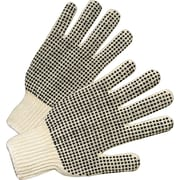 Anchor Brand® 2 Side Dots String Knit Gloves, Cotton/Polyester, Men's Size, White/Black, 12 Pair/Bx