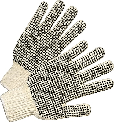 Anchor Brand Dot String Knit Gloves, Cotton/Polyester, Knit-Wrist Cuff, Men's Size, Natural White