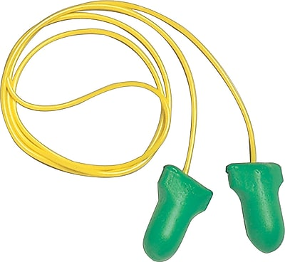 Howard Leightning® Max Lite® Corded Disposable Earplugs, Green, 30 dB, 100/Box
