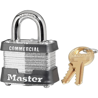 Master Lock® Safety Tumbler Padlocks, 4 pin, Laminated Steel, Keyed Different, 3/4