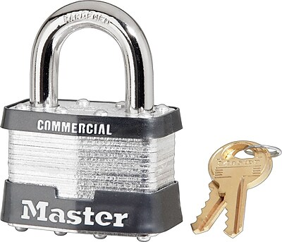 Master Lock® Tumbler Padlocks, 4 Pin, Laminated Steel, Keyed Different, 4/Box