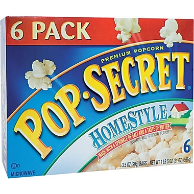 Pop Secret Microwave Popcorn, Homestyle, 3.5 oz. Bags, 6 Bags/Box