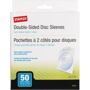Staples® CD/DVD Sleeves, 50-Pack