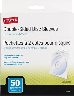 Staples CD/DVD Envelope Sleeves, 50/Pack