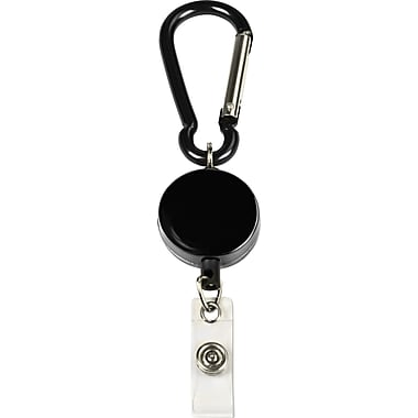 Cosco® MyID Black Anodized Metal Carabiner Card Reel