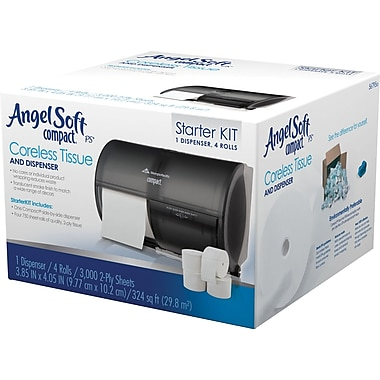 Angel Soft® ps Coreless Bath Tissue Starter Kit; Translucent Smoke Dispenser